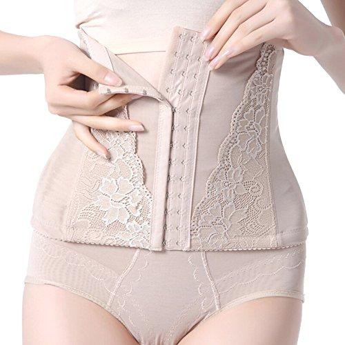 QianSheng De las mujeres Ajustable 3 Gancho Sin costura Curvas Cintura alta Cincher Desnudo