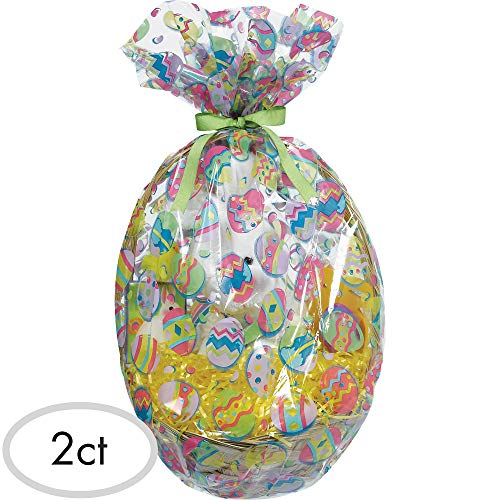 Amscan 378055 Painted Eggs Basket Cello Bag, 24