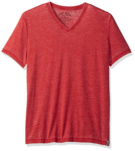 Lucky Brand Men's Burnout Vneck Tee, Pompeii Red, Small ()