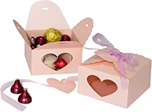 Wedding Party Candy Favor Boxes - 60pcs Laser Cut Heart Favor Treat Gift Box with Ribbon and Heart Tag Paper Favor Boxes for Wedding, Engagement, Bridal Shower, Party, Anniversary Decors (Pink)