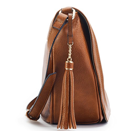Large Tassel Brown Bags Bag Crossbody Saddle With Shoulder Women 0wUrq0