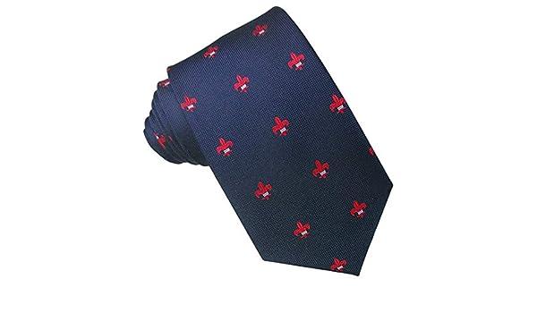 Corbata Seda Marino Flor de Lis Roja. Corbata de seda para hombre ...