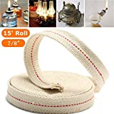 Hitommy 7/8 Inch Flat Cotton Wick 15 Foot Length Wick For Oil Lamps and Lanterns 4.5M