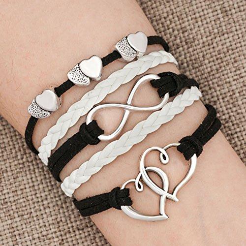 LovelyJewelry Leather Wrap Bracelets Girls Double Hearts Inf