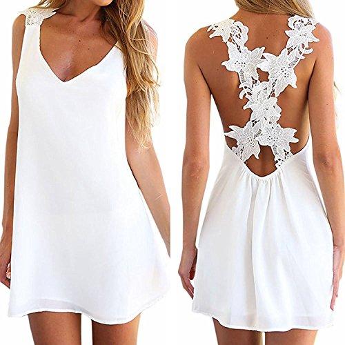 [Ovirao Women Sexy V-neck Lace Crochet Racerback Chiffon Short Mini Dress White] (Maternity Fancy Dress Uk)