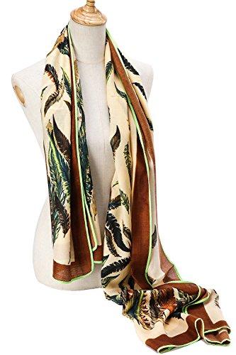 Premium Women Extreme Soft Scarf Wrap Shawl For Any Season, Rich Pattern Choice ( Leaf - Beige )