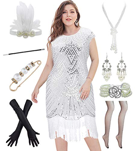 1920s Plus Size Great Gatsby Fringed Flapper Dress with 20s Accessories Set (2XL, White)]()
