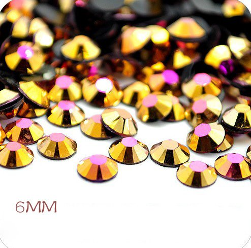 Ss30 288Pcs 6Mm Flatback Resin Ab Rhinestones  Jelly Gold Ab