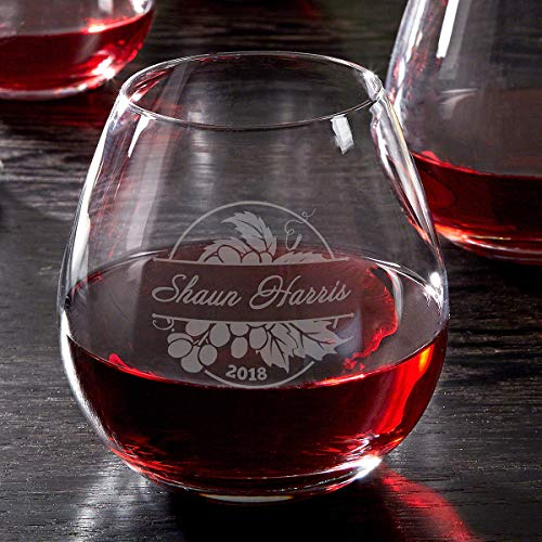 Rhone Valley Etched Stemless Red Wine Glass (Personalized Product)