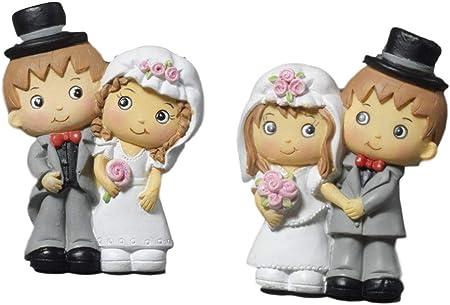 Bomboniere Simpatiche Matrimonio.Paben 24 Pezzi Calamita Sposi In Resina Due Sposini Bomboniera