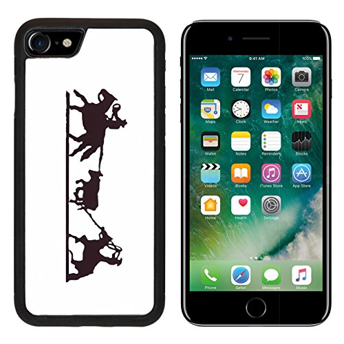 Iron Backplate - MSD Premium Apple iPhone 7 iPhone7 Aluminum Backplate Bumper Snap Case IMAGE ID: 2377995 Buckaroos cowboys with lariats roping cattle from their horses Western art iron work Wyoming Rocky Mountain