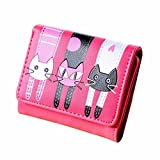 Sumen Wallet, Cat Pattern Coin Purse Short Wallet Card Holders Handbag (Hot Pink)