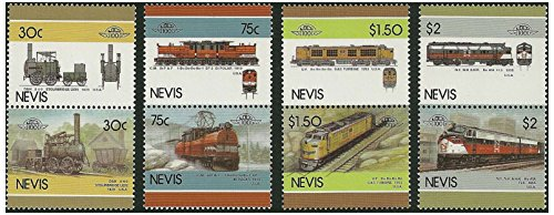 American Trains stamp pairs - 8 stamps in 4 pairs issued in 1986 Nevis / Mint and unmounted (Train Mint Stamps)