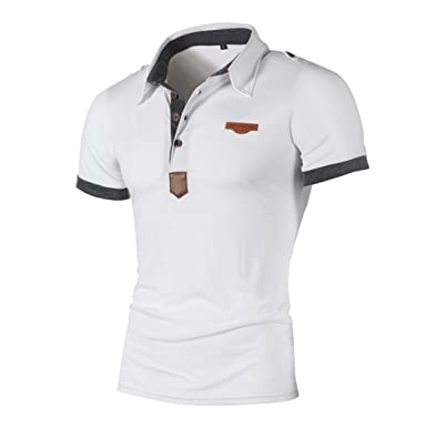08bee5589705 Elogoog Handsome Mens Casual Letter Polo T-Shirt Slim Fit Short Sleeve  Classic Tee Shirts