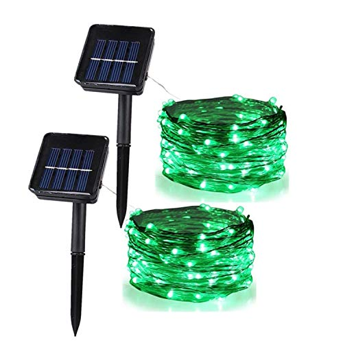 Anxus Solar String Lights, 100 LEDs Green Starry String Lights, Copper Wire solar Lights Ambiance Lighting for Outdoor, Gardens, Homes, Dancing, Christmas Party (2 pack)