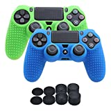 YoRHa Studded Silicone Cover Skin Case for Sony PS4/slim/Pro controller x 2(blue+green) With Pro thumb grips x 8
