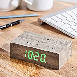 Gingko Flip Click Clock LED Alarm Clock Sound Activated with New Flip Technology, Rechargeable with Laser Engraved Touch Controls, Ash