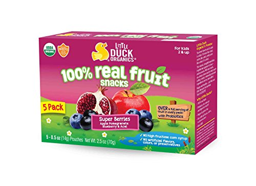 Little Duck Organics Tiny Gummies with Probiotics Lunchbox, Blueberry Acai/Pomegranate, 5 Count (Pack of 6), 2.5 Oz