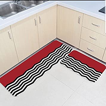 Amazon Com 2 Piece Kitchen Mats And Rugs Set Black White And Red