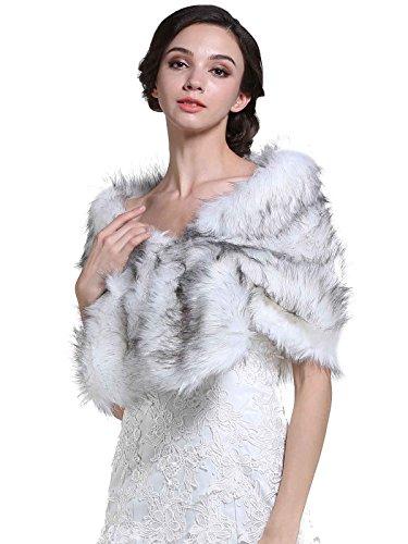 Fur Silver (Aukmla Women's Wedding Fur Wraps and Shawls, Bridal Fur Stoles for Bridesmaids)