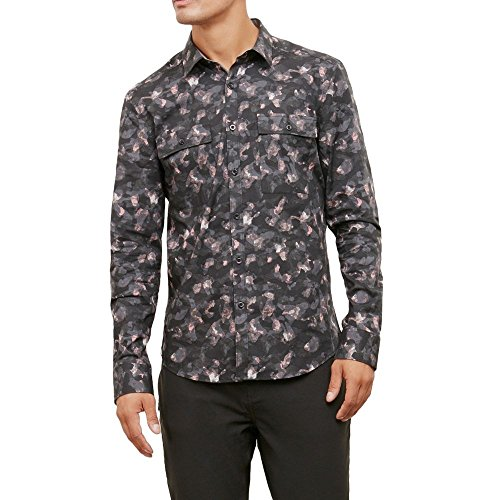 Kenneth Cole New York Men's Camo Print Shirt, Black Combo, Medium (Cole Kenneth Combo Black)