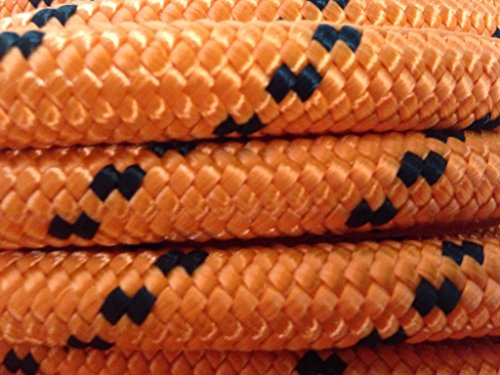 1/2'' By 200' Arborist Rigging Rope, Double Braided Polyester Orange/black by Blue Ox Rope