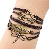 Coromose Love Dragonfly Multilayer Knit Leather Rope Chain Charm Bracelet DIY Gift
