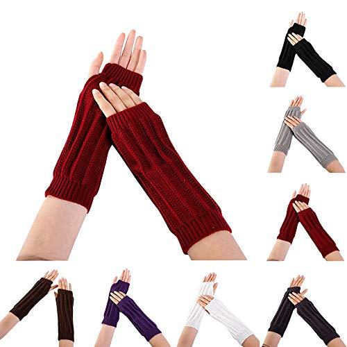 Women Winter Warm Fingerless Knitted Long Gloves Mitten Wrist Arm Hand Warmer Crochet Thumbhole Knit Wrist Warmers by BingYELH (Image #1)