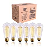 Tools & Hardware : Edison Bulb, NALAKUVARA 60w Filament Long Life Vintage Antique Style Incandescent Clear Glass Light Squirrel Cage Design E26 E27 Medium Base Lamp (6 Pack) for Chandeliers Wall Sconces Pendant Lighting