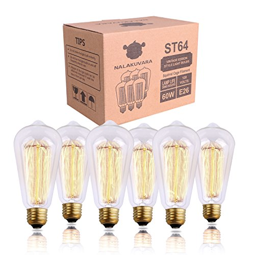 Edison Bulb, NALAKUVARA 60w Filament Long Life Vintage Antique Style Incandescent Clear Glass Light Squirrel Cage Design E26 Medium Base Lamp (6 Pack) for Chandeliers Wall Sconces Pendant Lighting
