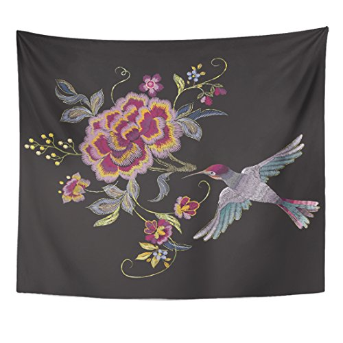 TOMPOP Tapestry Gold Oriental Floral Pattern with Bird and Roses