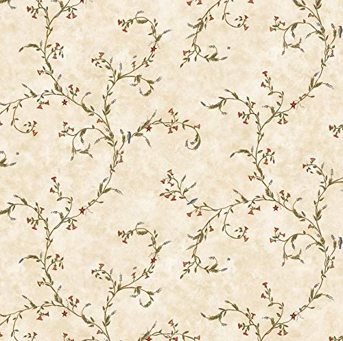 Angels and Ivy II Sidewall Wallpaper Traditional Country Lavender Trail Floral Vine with Small Birds