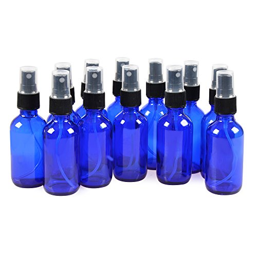 12 Pack,2oz Blue Glass Bottle Bottles with Black Fine Mist Sprayer.Refillable & Reusable.Designed for Essential Oils, Perfumes,Cleaning Products,Aromatherapy.12 Chalk Labels as gift. ()
