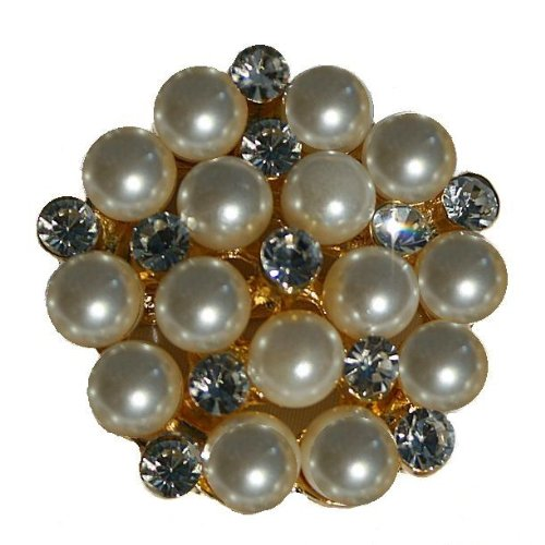 Colored Rhinestone Pin (The Buckle Boutique Beautiful Pearl and Rhinestone Brooch Pin for Arts and Crafts, Gold)