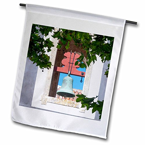 Patina Garden Bell - 3dRose Danita Delimont - Obidos - Portugal, Obidos. Patina-aged, oxidized copper church bell. - 12 x 18 inch Garden Flag (fl_249418_1)