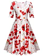 ELESOL Women's Half Sleeve Swing Dress Flower Print A Line Tea Dress