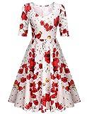 Elesol Women's Half Sleeve Swing Dress Flower Print A Line Tea Dress
