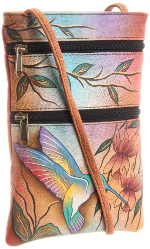 Anuschka Women's Leather Hand Painted Double Zip Travel Crossbody Bag, flying jewels