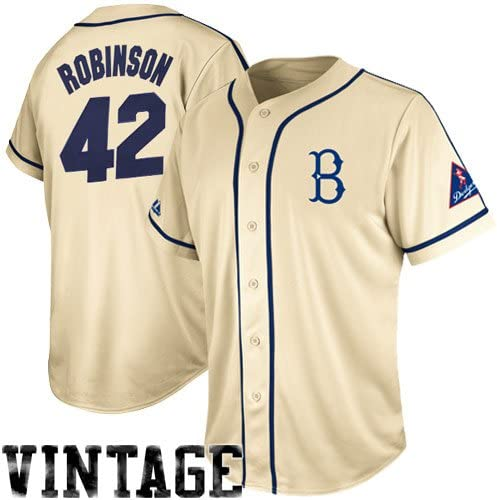 Majestic Jackie Robinson Brooklyn Dodgers Cooperstown Natural Tradition Jersey