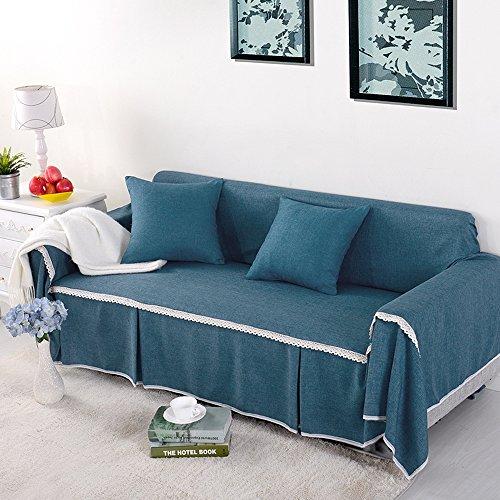 yazi Blue Washable Sofa Cover CouchRemovable Sette Anti-Slip Sofa Furniture Throw Slipcover 215cm-300cm (Sette Furniture)