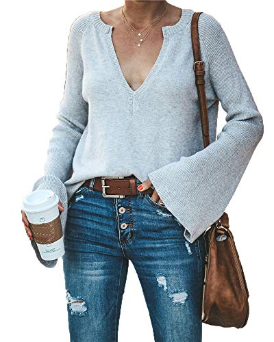 Womens V-neck Jumper - HZSONNE Women's Casual Crew Deep V Neck Kimono Bell Sleeve Loose Fit Solid Pullover Sweater Knitted Jumper Tops Knitwear