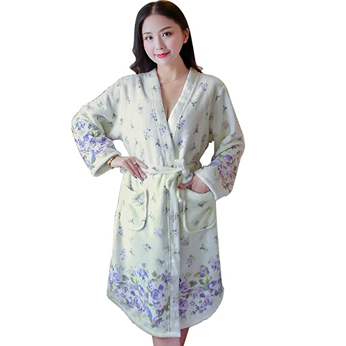 Thicken Nightgowns Winter Bathrobe Women Pajamas Bath Flannel Warm Robe Sleepwear  Womens Robes (Beige) a400789d6