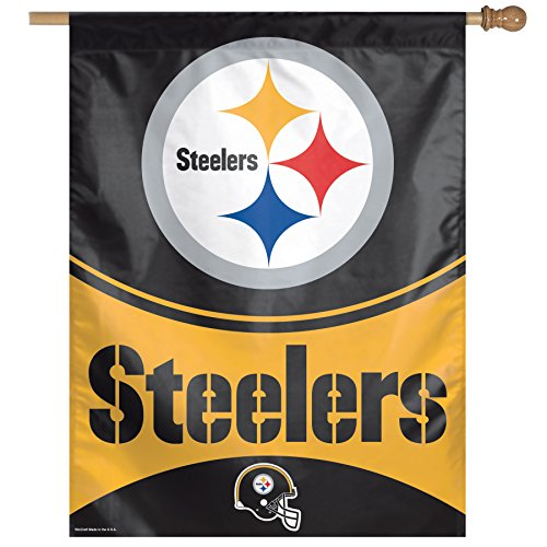 Wincraft NFL Pittsburgh Steelers Vertical Flag, 27 x 37-Inch/Large, Black