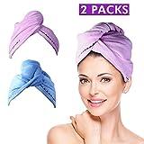 2 Pack Hair Towel Wrap Turban Microfiber Drying Bath Shower Head...