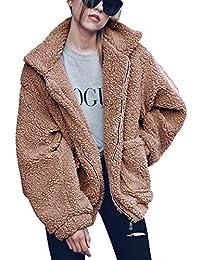 Womens Lapel Sherpa Fleece Open Front Coat with Pockets Outerwear