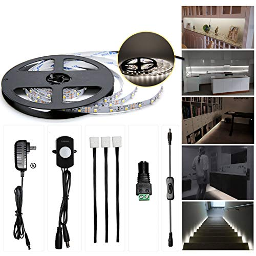 Sensky Motion Sensor LED Under Cabinet Lighting Kit Extendable Under Counter LED Light with Motion Sensor, Power Adapter for Gun Safe Light, Shelf, TV Wall Lighting (8.2FT,3000-3500K)