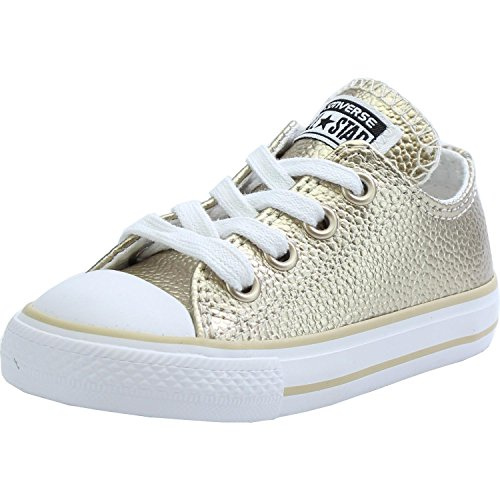 Converse Chuck Taylor All Star Metallic Ox Light Gold Leather Baby Trainers Light Gold