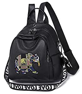 RSQJ Female Embroidery Backpack Baby Elephant Backpack (Color : B, Size : 26 * 12 * 31cm)