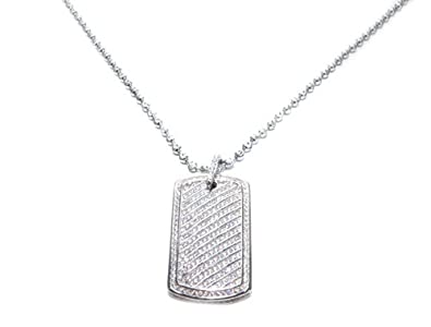 Amazon sterling silver dog tag pendant cubic zirconia white sterling silver dog tag pendant cubic zirconia white silver dog tag with chain aloadofball Images