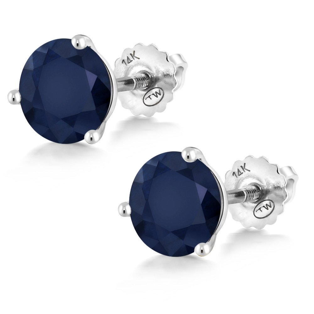 2.00 Ct Round 6mm Blue Sapphire 14K White Gold Martini Setting Stud Earrings by Gem Stone King (Image #3)